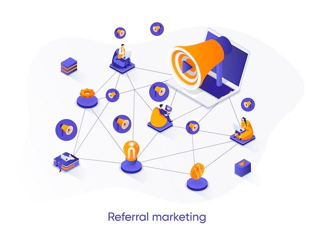 Banner web isometrico di marketing di riferimento. Vettore Premium