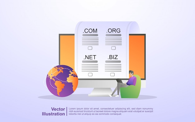 Registra un dominio web, scegli il dominio giusto Vettore Premium