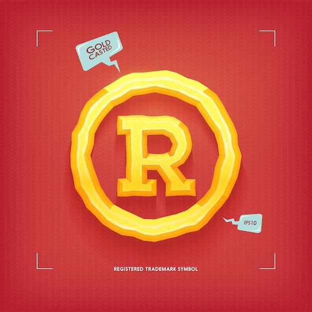Simbolo di marchio registrato. elemento di carattere tipografico gioiello d'oro. fuso in oro. illustrazione. Vettore Premium