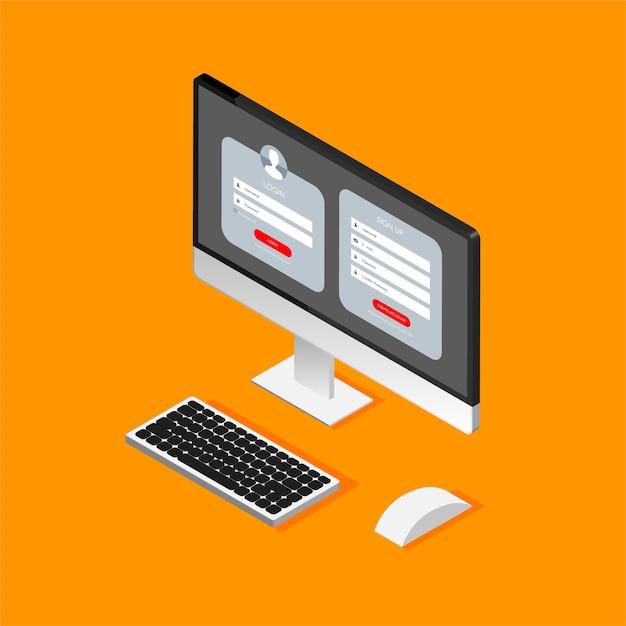 Modulo di registrazione e pagina del modulo di accesso sul display del computer isometrico. Vettore Premium