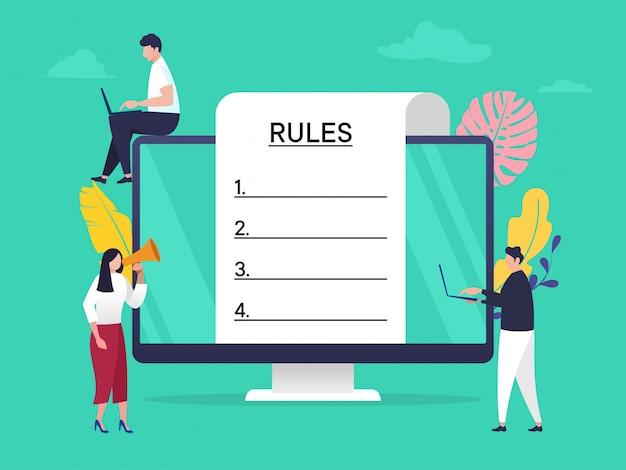 Concetto di illustrazione di legge di regole di conformità di regolamento, la gente che comprende le regole con il grande computer e carta Vettore Premium