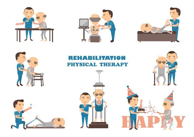 Terapia fisica di riabilitazione. Vettore Premium