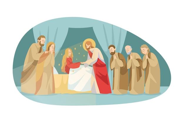 La religione, la bibbia, il cristianesimo concetto. il personaggio biblico di jesus christson of god, il messiah gospel, rende miracolosa l'ascensione di una ragazza defunta toccandola. guida di miracolo divino e illustrazione di benedizione. Vettore Premium