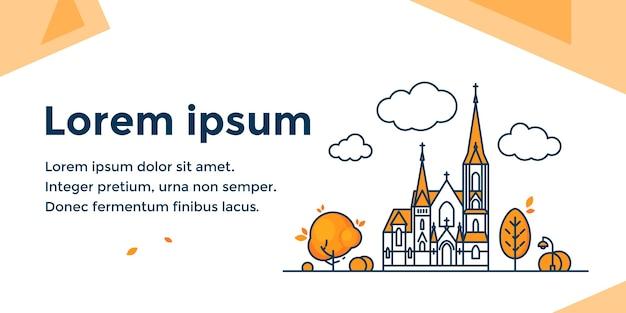 Banner orizzontale religioso con facciata della chiesa in stile lineare. Vettore Premium