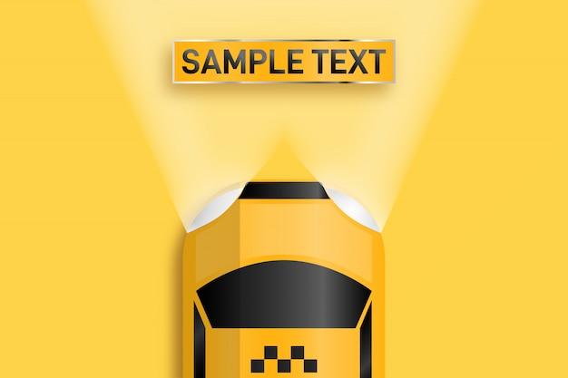 Taxi per biglietti da visita. spazio per il testo illuminato da fari automatici. Vettore Premium