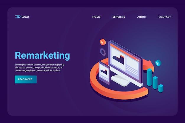 Pagina di destinazione del concetto di remarketing Vettore Premium