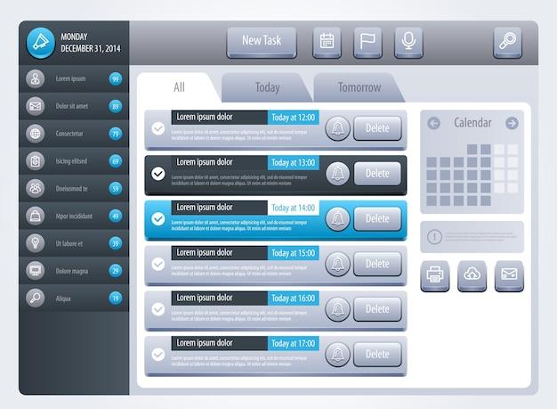 Interfaccia promemoria. modelli per sito web o applicazioni. . Vettore Premium