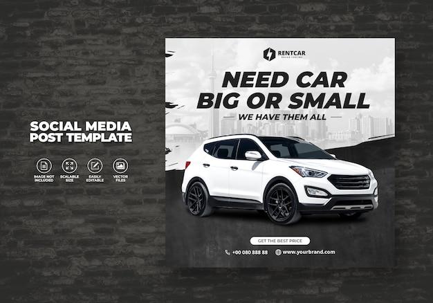 Noleggio auto per social media post banner modello di lusso Vettore Premium