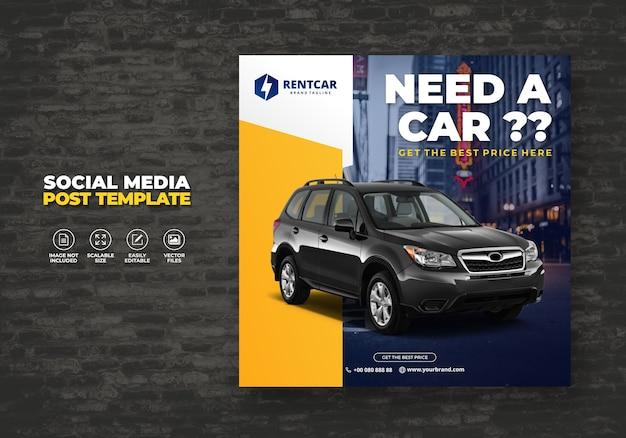 Noleggio auto per social media post banner moderno promo modello gratuito Vettore Premium