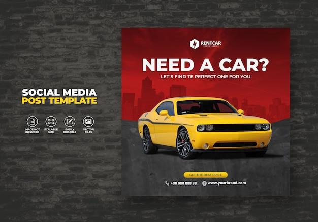 Noleggio auto per i social media post banner moderno promo modello Vettore Premium