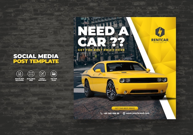 Noleggio auto per social media post banner modello nuovo Vettore Premium
