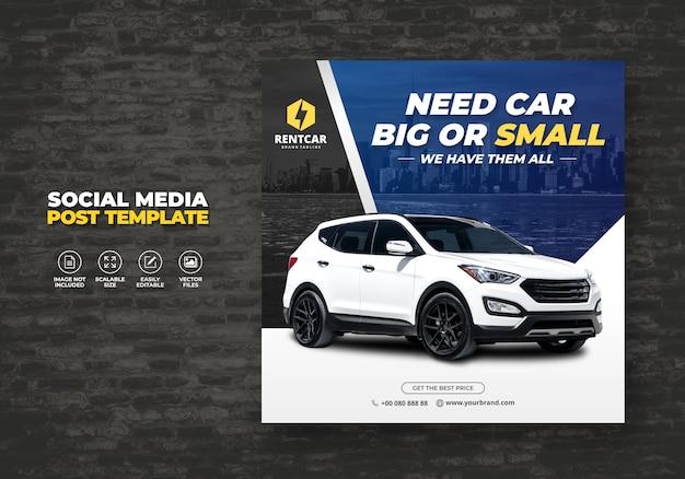 Noleggio auto per social media post banner promo modello Vettore Premium