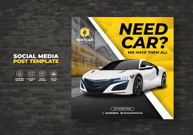 Noleggio auto per social media post modello banner Vettore Premium