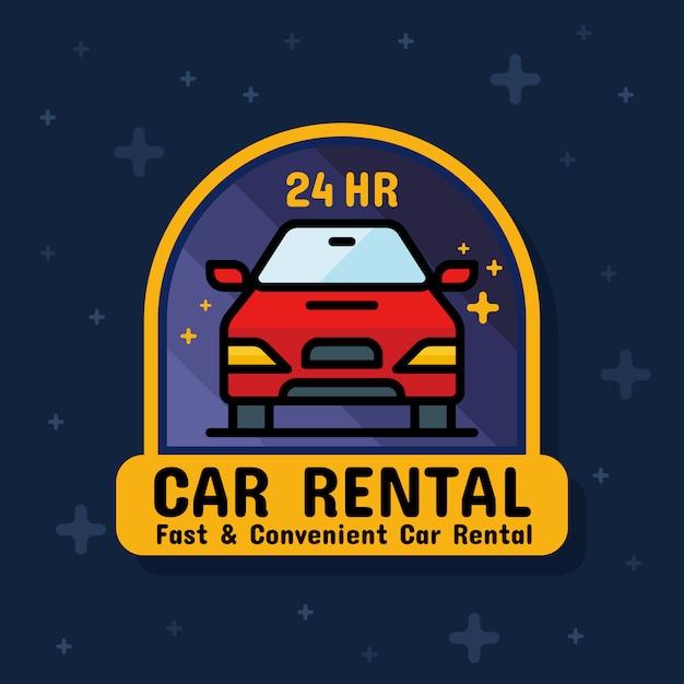 Banner adesivo noleggio auto servizio distintivo Vettore Premium