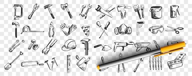Riparazioni doodle set. raccolta di modelli disegnati a mano schizzi modelli di strumenti di lavoro e strumenti trapano cacciavite spatola su sfondo trasparente. illustrazione dell'attrezzatura di manutenzione. Vettore Premium