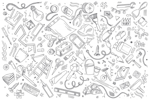 Insieme di doodle di riparazioni Vettore Premium