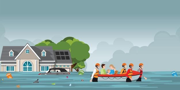 Squadra di soccorso che aiuta le persone spingendo una barca. Vettore Premium