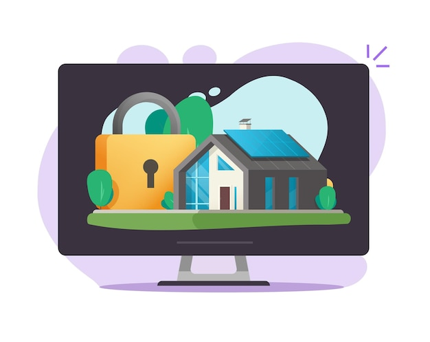 Casa residenziale e assicurazione di protezione sicura della casa online Vettore Premium