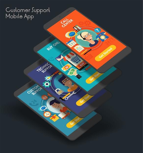 Modello di schermate di avvio per app mobile dell'interfaccia utente del servizio clienti reattivo con illustrazioni alla moda Vettore Premium