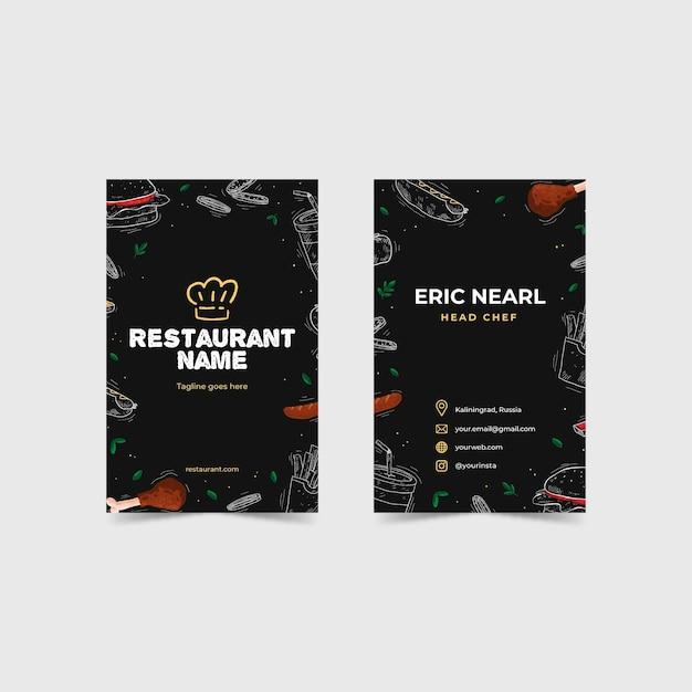 Biglietto da visita del ristorante illustrato Vettore Premium