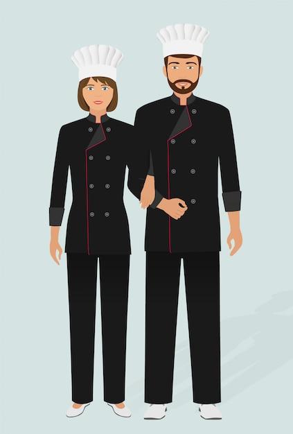 Ristorante chef e cuoco in divisa. coppia di personaggi del personale di servizio di catering. hotel accogliente. Vettore Premium
