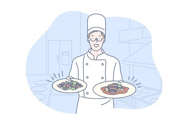 Ristorante, cucina, piatto, concetto di presentazione Vettore Premium