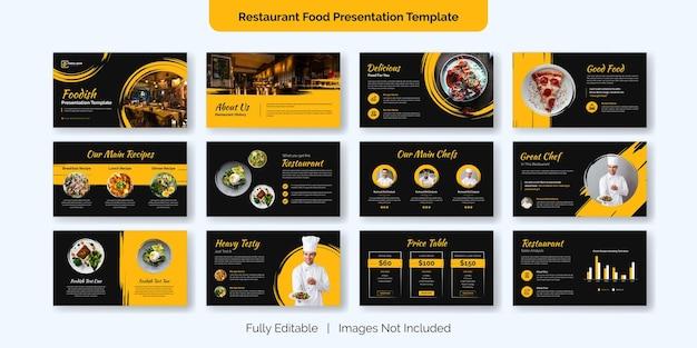 Disegno del modello di diapositiva di presentazione del cibo del ristorante Vettore Premium