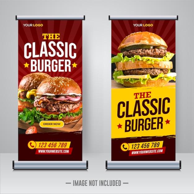 Ristorante cibo roll up ox modello di banner Vettore Premium