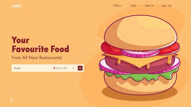 Pagina di destinazione del ristorante o banner web con l'illustrazione deliziosa dell'hamburger. Vettore Premium