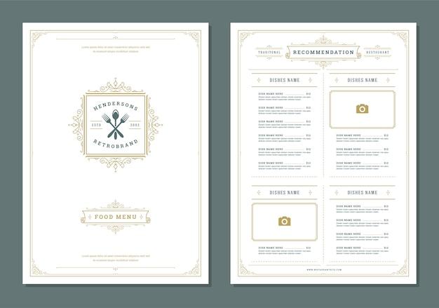 Modello di menu ristorante ed etichetta modello di brochure vettoriale. Vettore Premium