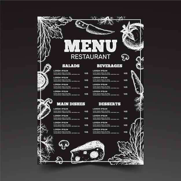 Disegno del modello di menu del ristorante Vettore Premium