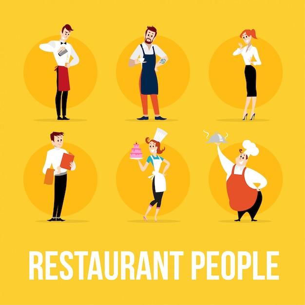 Personaggi di persone del ristorante. illustrazione. Vettore Premium