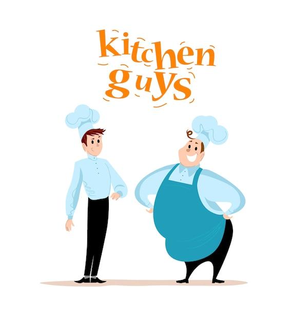 . . ritratti di persone di servizio ristorante su priorità bassa bianca. personaggi della squadra di cibo. cameriere, cuoco, uomo in uniforme ritratto. Vettore Premium