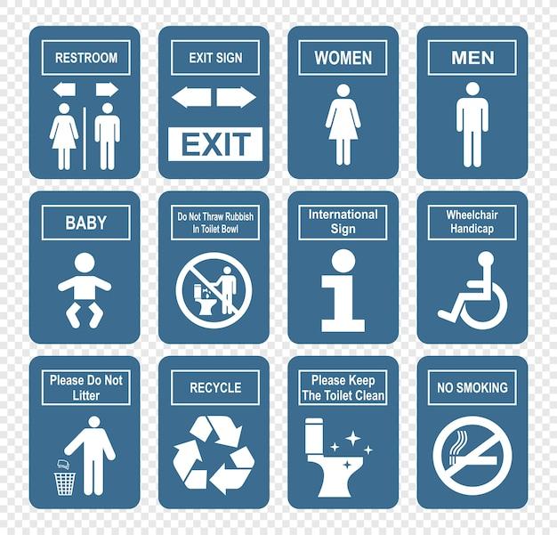 Icone bagno impostato su stile piano Vettore Premium