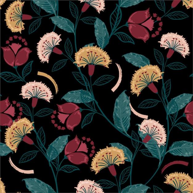 Floreale bohémien retrò, seamless colorato, stile folk disegnato a mano, design per moda, tessuto, stampe, carta da parati, avvolgimento e tutte le stampe Vettore Premium