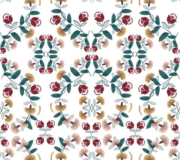 Bohemien floreale retrò, colorato modello vettoriale senza soluzione di continuità, illustrazione di stile folk disegnato a mano, design per moda, tessuto, stampe, carta da parati, avvolgimento e tutte le stampe Vettore Premium
