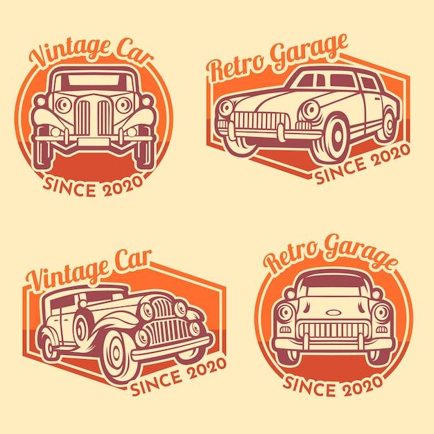 Modello di logo di garage auto retrò Vettore Premium