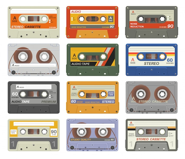 Cassette retrò. cassetta audio in plastica colorata dispositivo multimediale vintage tecnologia musicale nastri stereo immagini degli anni ottanta. impostato Vettore Premium