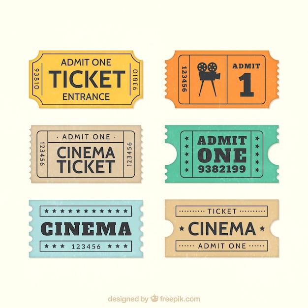 Retro biglietti del cinema Vettore Premium