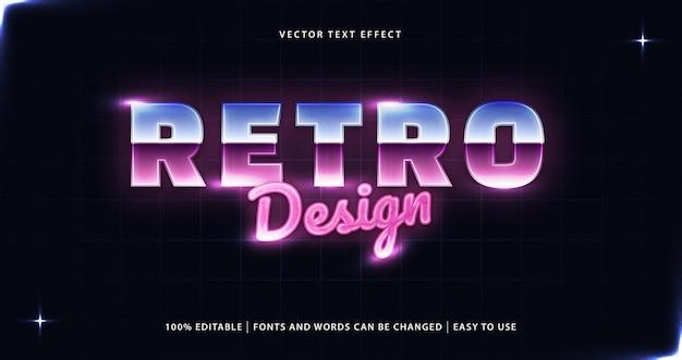 Effetto di testo modificabile in stile anni '80 dal design retrò. Vettore Premium