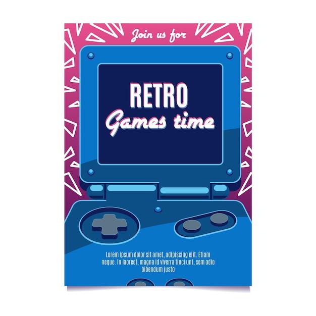 Modello di poster di gioco retrò Vettore Premium