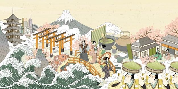 Scenario di strada retrò del giappone in stile ukiyo-e, persone che trasportano polvere verde e si godono la loro bevanda Vettore Premium