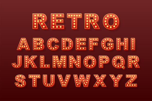 Testo leggero retrò, ottimo per qualsiasi scopo. alfabeto lampadina retrò. illustrazione di riserva. Vettore Premium