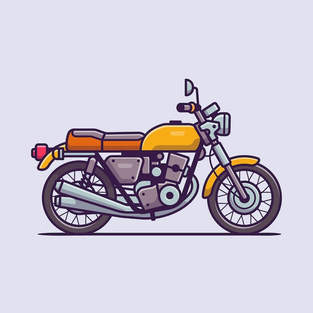 Retro motocicletta icona del fumetto illustrazione. concetto dell'icona del veicolo del motociclo isolato. stile cartone animato piatto Vettore Premium