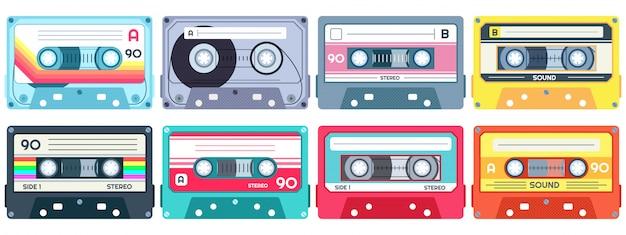 Cassetta musicale retrò. nastro stereo per dj, cassette vintage e set di cassette audio Vettore Premium