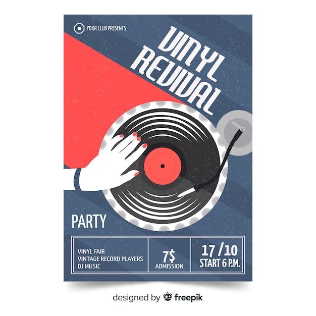 Modello di poster di musica retrò Vettore Premium