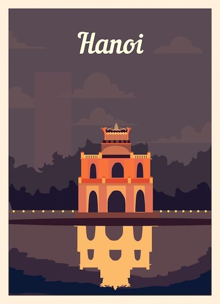 Poster retrò skyline della città di hanoi. Vettore Premium