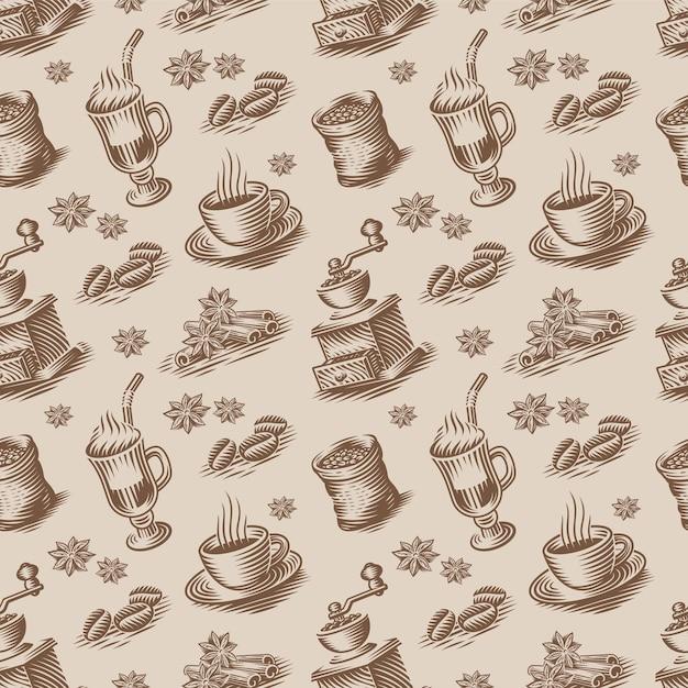 Uno sfondo retrò senza soluzione di continuità per un tema di caffè in stile incisione. questo disegno può essere utilizzato per il confezionamento o come sfondo per un ristorante o per una cucina Vettore Premium