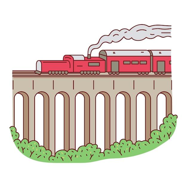 Treno rosso del retro vapore sull'illustrazione di vettore del fumetto di schizzo del ponte isolata. Vettore Premium