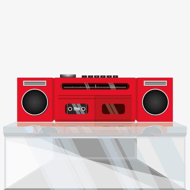 Registratore stereo retrò, lettore di cassette Vettore Premium
